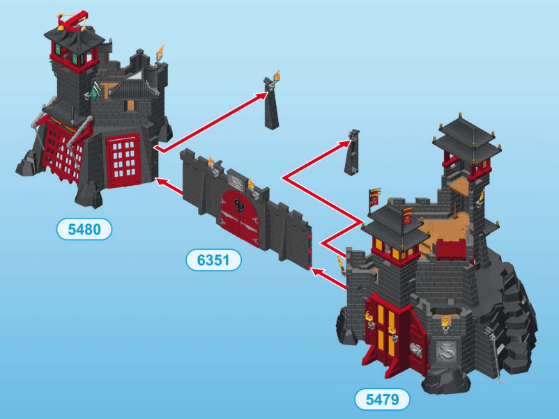 Porte d'extension de la citadelle et forteresse des Dragons Asiatiques Playmobil 6351